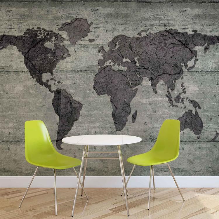 World Map Concrete Texture Фото-тапети