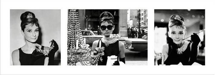 Audrey Hepburn - Breakfast at Tiffany's Triptych Художествено Изкуство