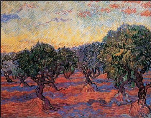 Olive Grove: Orange Sky, 1889 Художествено Изкуство