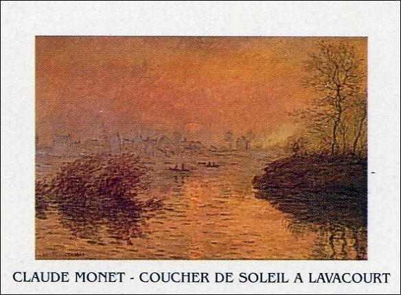Sunset on the Seine at Lavacourt Художествено Изкуство