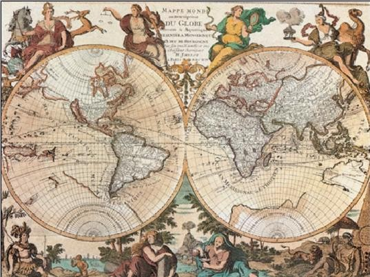 World Map - Antique Style Художествено Изкуство
