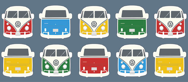 VW Camper - Campers Colours Illustration Чаши