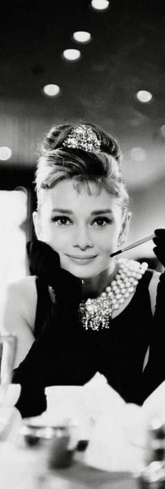 Audrey Hepburn - cigarette b/w - плакат