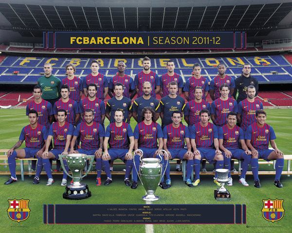Barcelona - Team photo плакат