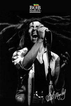Bob Marley - shout b&w - плакат