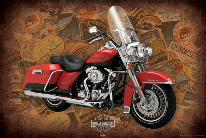 Harley Davidson - road king - плакат