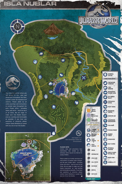 Jurassic World - Aged Map плакат