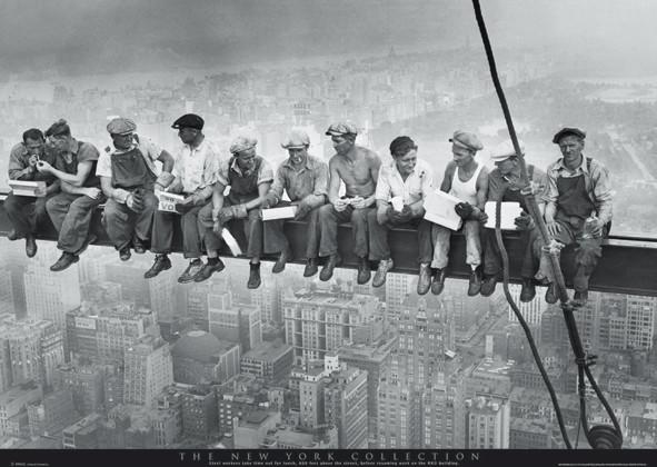Men on girder - New York плакат