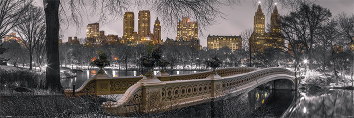 New York - Bow Bridge Central Park плакат