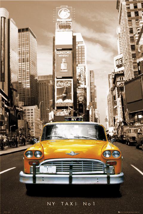 New York Taxi no.1 - sepia плакат