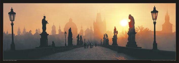 Prague – Charles bridge / sun - плакат