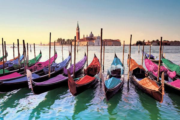 Venice - gondolas - плакат