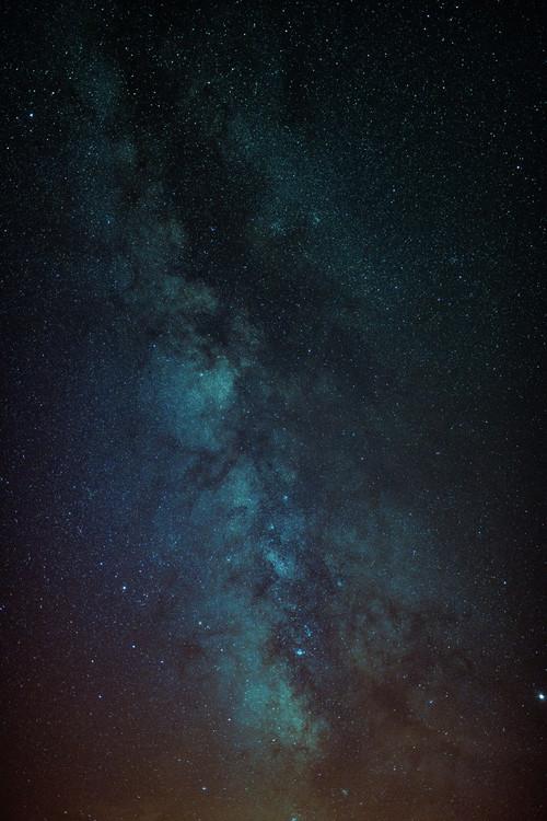 художествена фотография Astrophotography of Orange-Blue Milky Way.