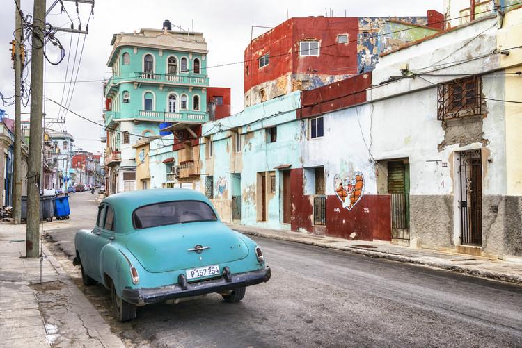 художествена фотография Turquoise Classic Car in Havana