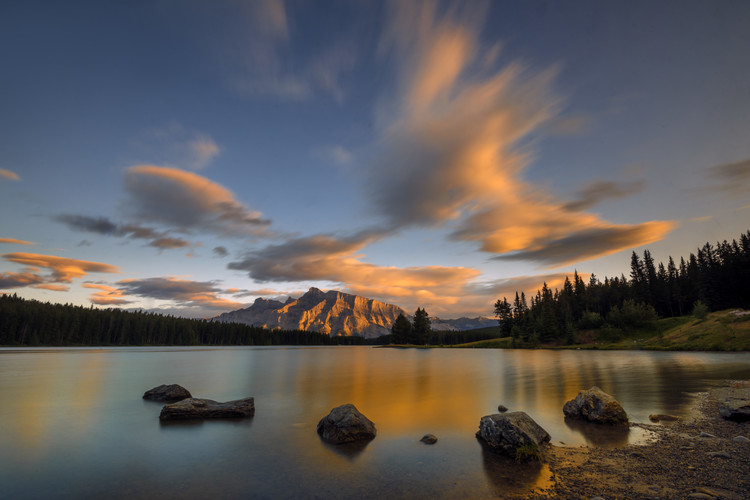 художествена фотография Two Jack Lake Sunset