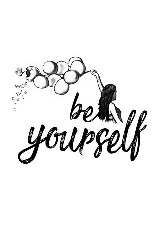 художествена фотография Be yourself - White