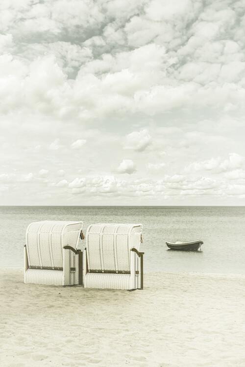 художествена фотография Idyllic Baltic Sea with typical beach chairs | Vintage