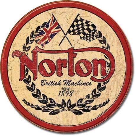Plechová cedule NORTON - logo round, (30 x 30 cm)