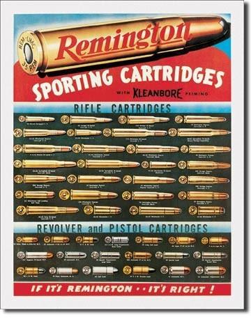Plechová cedule REM - remington cartridges, (32 x 41 cm)