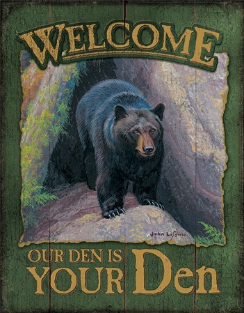 Plechová cedule Welcome to Your Den, (31 x 42 cm)