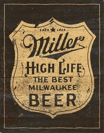 Plechová cedule Miller - Vintage Shield, (31 x 42 cm)