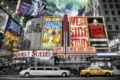 Plakát, Obraz - New York - theatre signs, (91,5 x 61 cm)