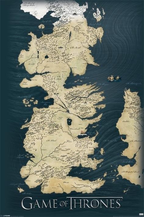 Plakát, Obraz - Hra o Trůny (Game of Thrones) - mapa, (61 x 91,5 cm)