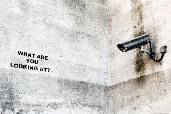 Plakát, Obraz - Banksy street art - Graffiti Camera, (91,5 x 61 cm)