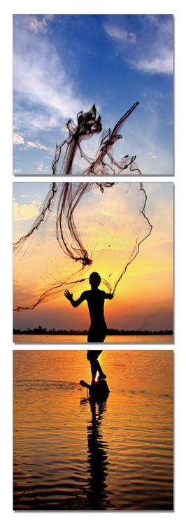 Obraz na zeď - Rybaření za svítání, (50 x 150 cm)