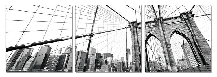 Obraz na zeď - New York - Brooklyn Bridge detail (B&W), (180 x 60 cm)