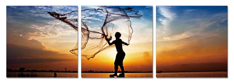 Obraz na zeď - Rybaření za svítání, (150 x 50 cm)