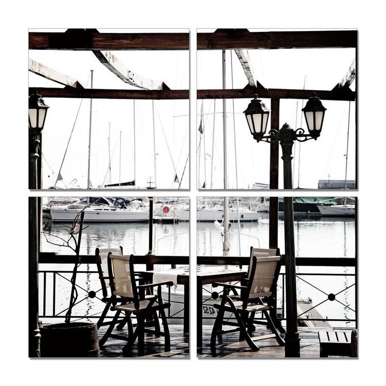 Obraz na zeď - Přístavní kavárna - posezení, (140 x 140 cm)