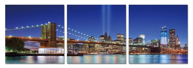 Obraz na zeď - New York - Tribute in Light z dálky, (120 x 40 cm)