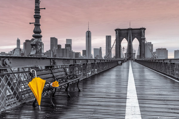 Plakát, Obraz - New York - Brooklyn bridge, Assaf Frank, (91,5 x 61 cm)
