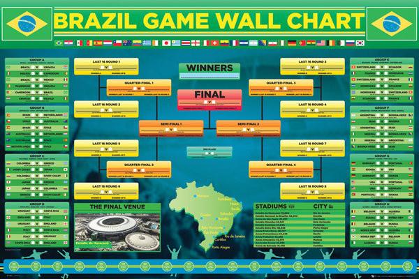 Plakát, Obraz - World cup - Wallchart 2014, (91,5 x 61 cm)
