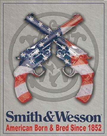 Plechová cedule S&W - SMITH & WESSON - American Born, (31.5 x 40 cm)
