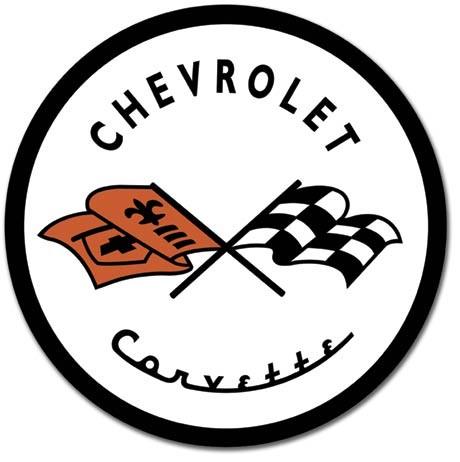 Plechová cedule CORVETTE 1953 CHEVY - Chevrolet logo, (30 x 30 cm)