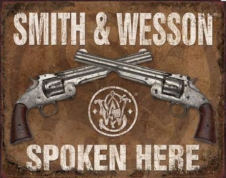 Plechová cedule S&W - SMITH & WESSON - Spoken Here, (40 x 31,5 cm)
