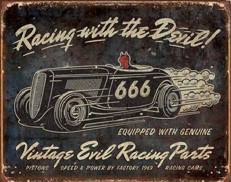 Plechová cedule VINTAGE - Evil Racing, (40 x 31.5 cm)