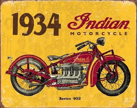 Plechová cedule INDIAN MOTORCYCLES - 1935, (40 x 31.5 cm)