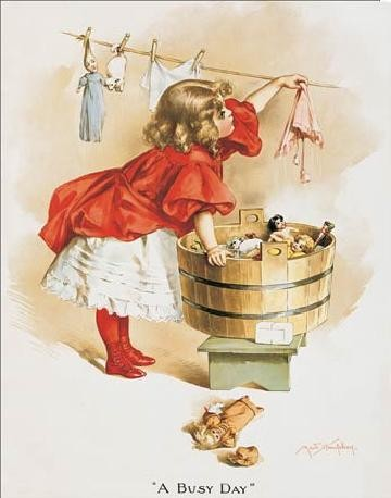 Plechová cedule IVORY SOAP GIRL WASHING, (32 x 41 cm)