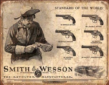 Plechová cedule S&W - SMITH & WESSON - Revolver Manufacturer, (40 x 31,5 cm)
