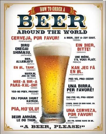 Plechová cedule PIVO - Jak si objednat pivo, (31,5 x 40 cm)