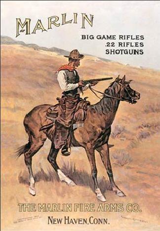 Plechová cedule MARLIN - cowboy on horse, (26 x 41 cm)