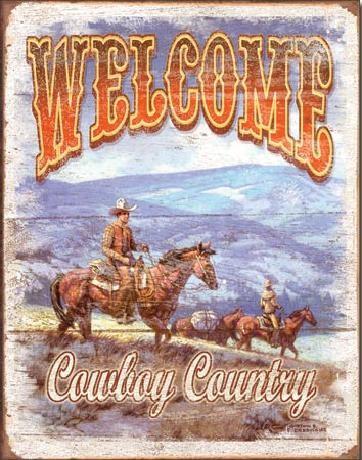 Plechová cedule WELCOME - Cowboy Country, (31.5 x 40 cm)