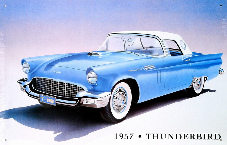 1957 THUNDERBIRD Metalen Wandplaat