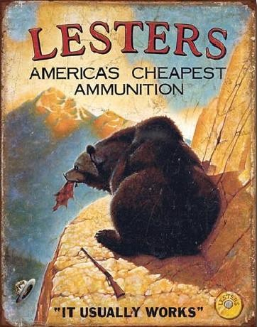 Plechová cedule LESTER'S AMERICA'S CHEAPEST, (30 x 41 cm)