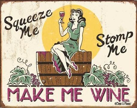 Plechová cedule MOORE - make me wine, (41 x 32 cm)