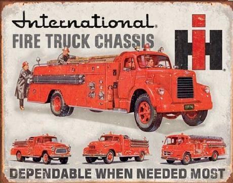 Plechová cedule INTERNATIONAL FIRE TRUCK CHASS, (41 x 32 cm)