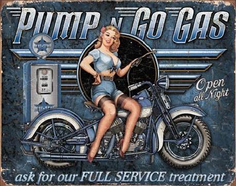 Plechová cedule PUMP N GO GAS, (41 x 32 cm)